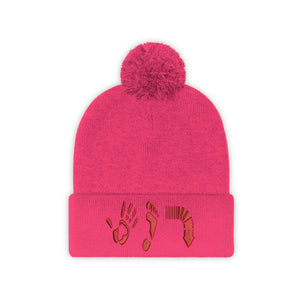 Five Toes Down Red Pom Pom Beanie Embroidered
