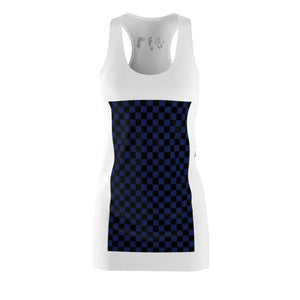 Five Toes Down Blue Checkerboard Cut & Sew Racerback Dress