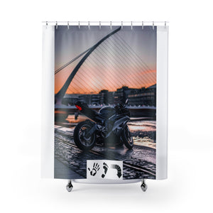 Five Toes Down Motorcycle Shower Curtains