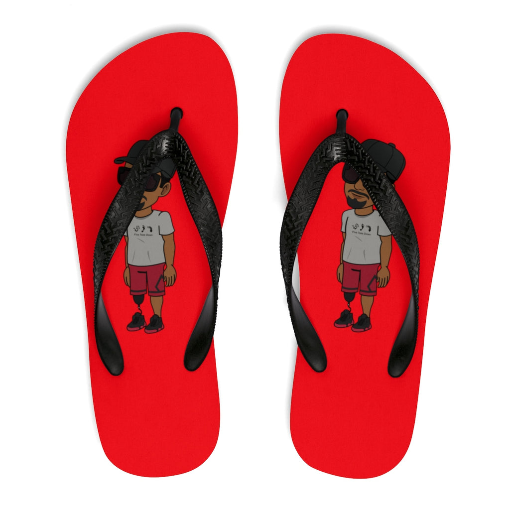Five Toes Down Henry Unisex Flip-Flops Red