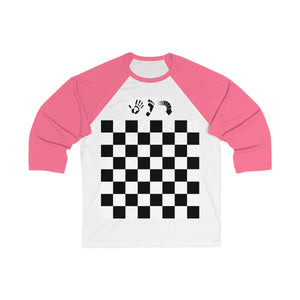 Five Toes Down Checkerboard Unisex 3/4 Sleeve Baseball Tee
