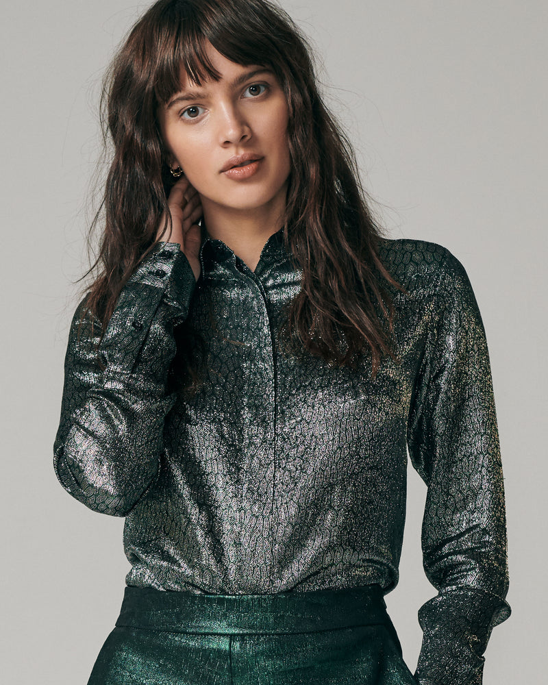 Blouse - Button Down | Green/Silver