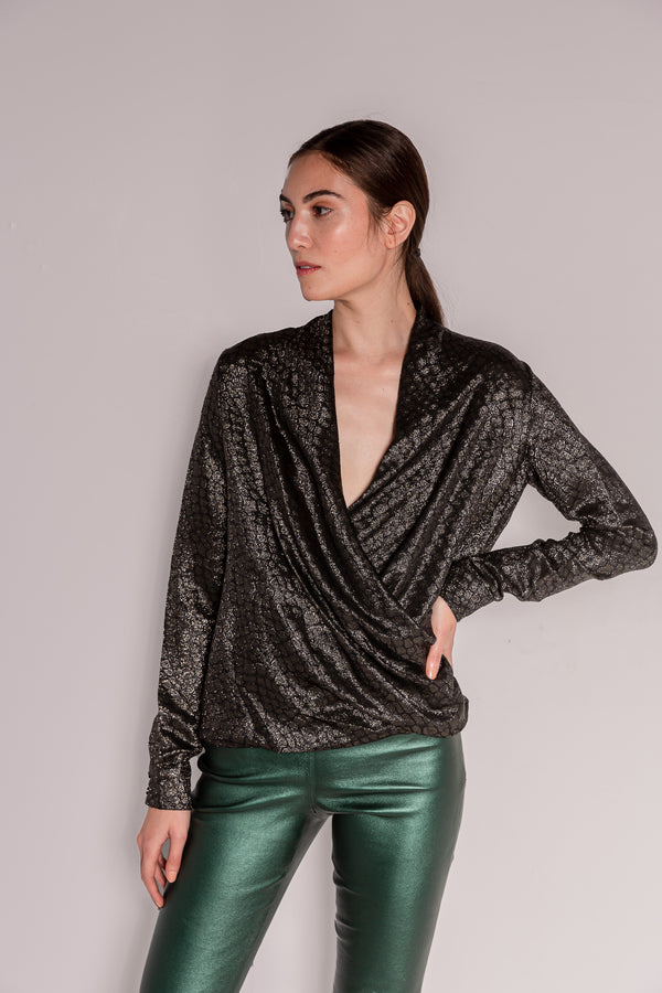 Blouse - Wrap | Black/Silver