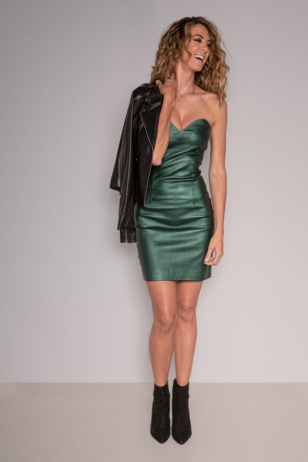 Strapless Mini Dress | Bottle Green