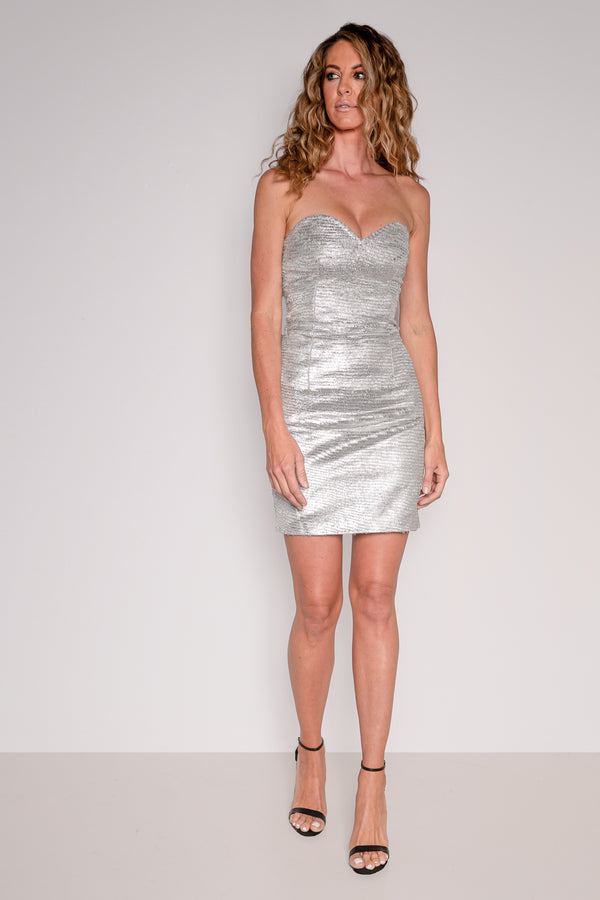 Strapless Mini Dress | Feathered Silver