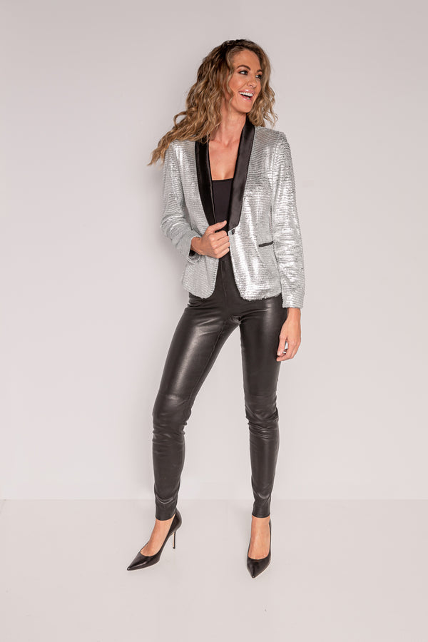 Tuxedo Jacket-Shawl Lapel | Feathered Silver