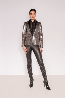 Tuxedo Jacket- Shawl Lapel | Bubble Silver