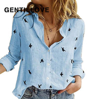 Casual Vintage Long Sleeve Birds Print Loose Shirts
