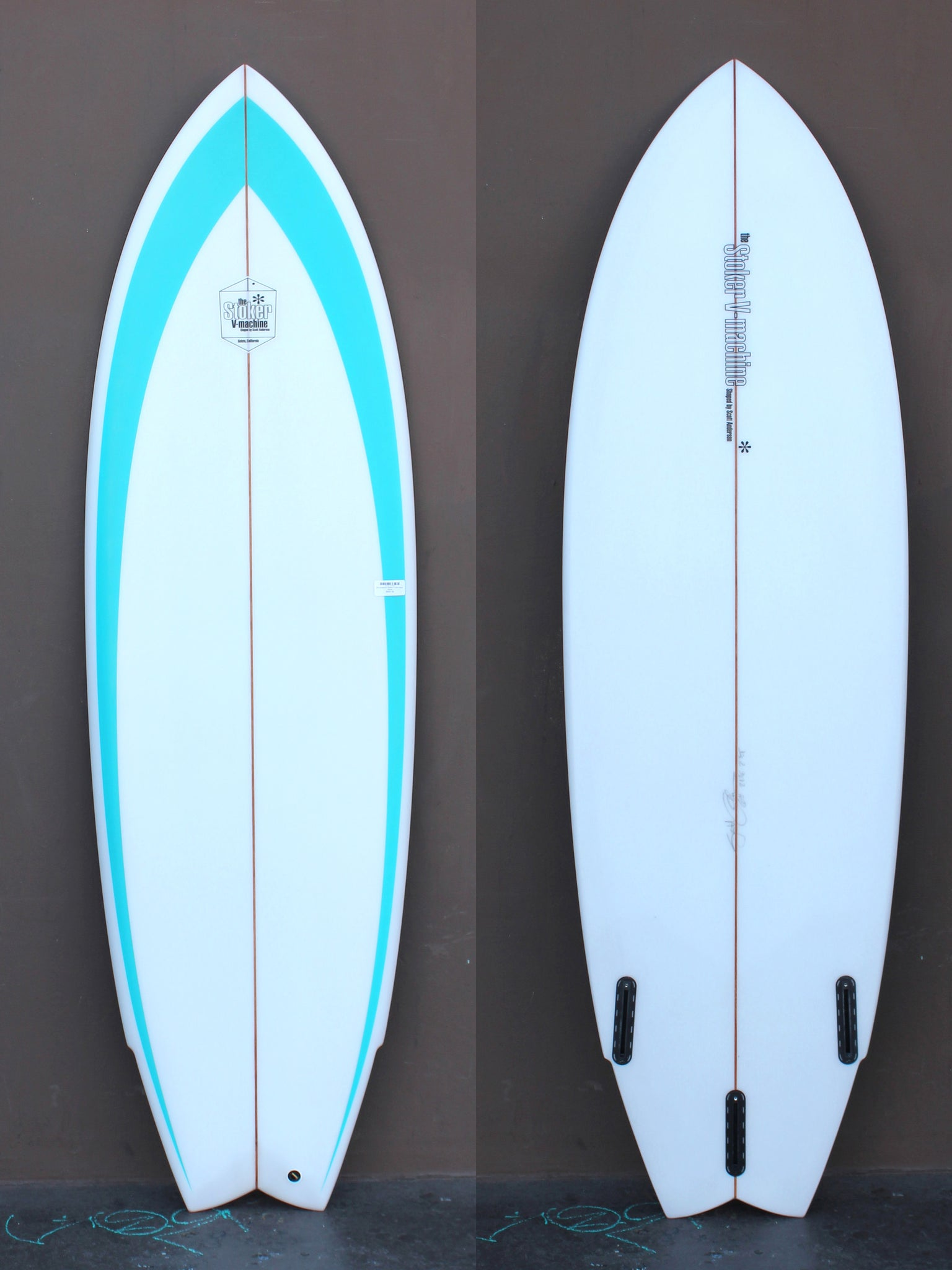 6'4 Anderson Stoker V twin Aqua Spear