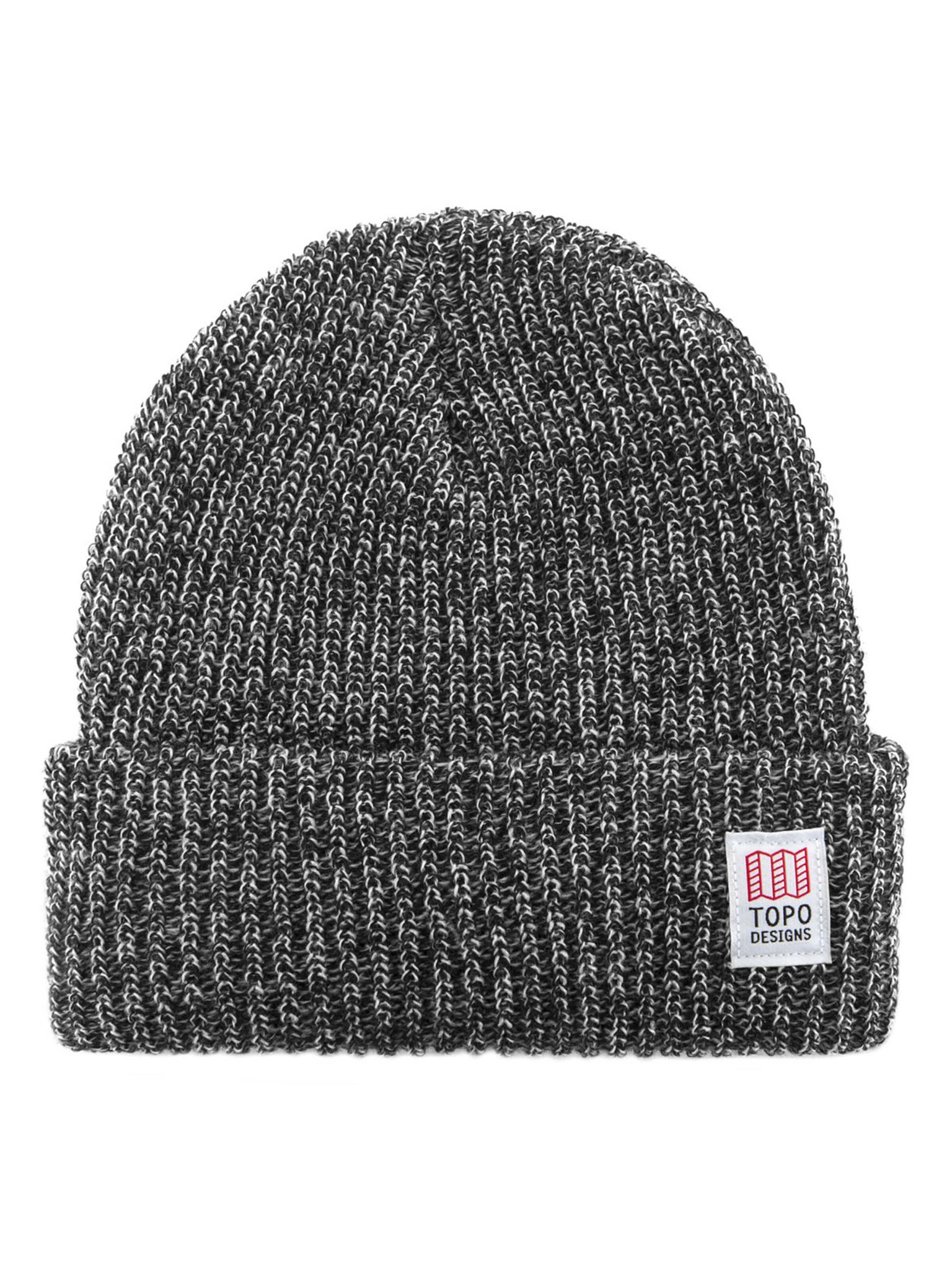 Topo Designs Heavy Knit Watch Cap - Black / White Marl