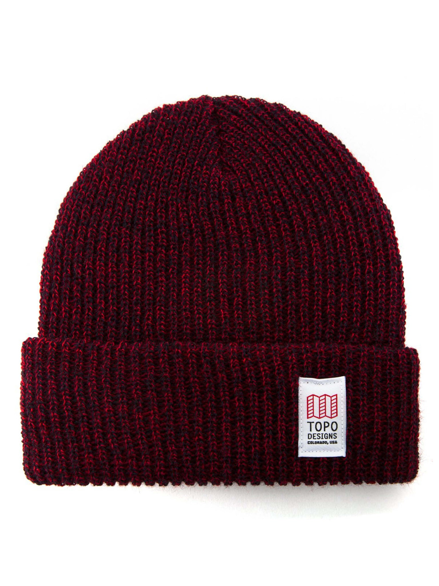 Topo Designs Heavy Knit Watch Cap - Navy / Red Marled