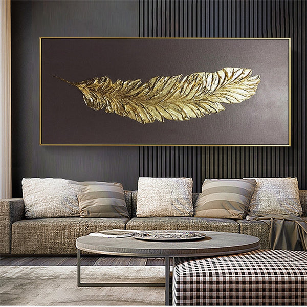 Golden feather modern abstract 3D canvas painting