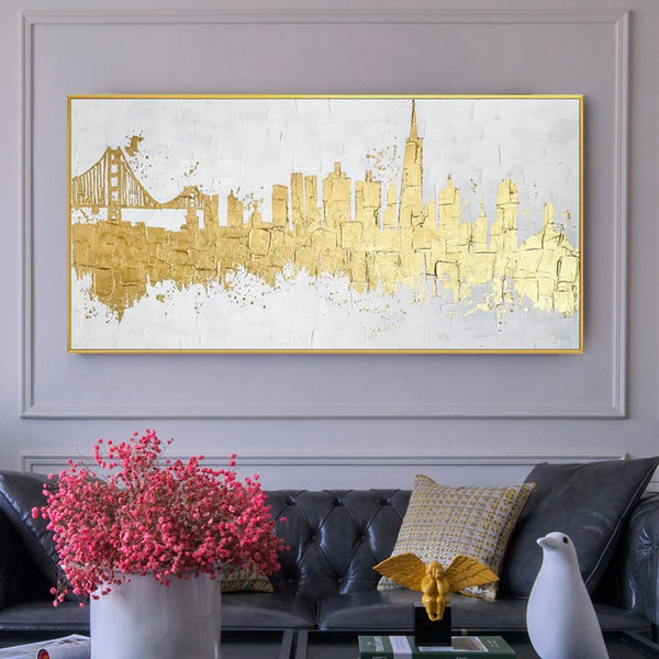Golden picture modern abstract canvas painting