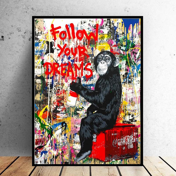 Follow Your Dreams Monkey Pictures Gorilla Canvas Painting