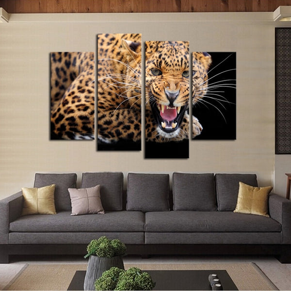 Yellow Spots Leopard Painting Canvas Wall Art
