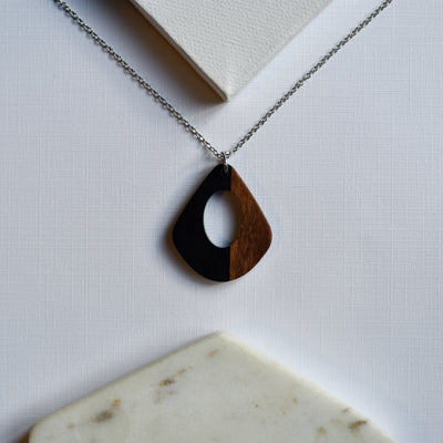 Black Resin & Wood Teardrop