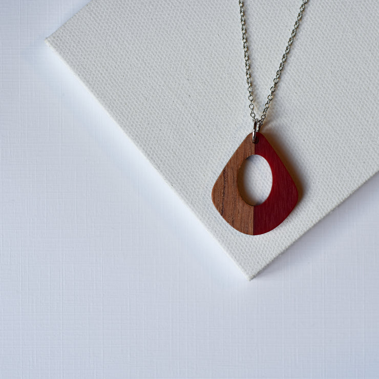 Red Resin & Wood Teardrop