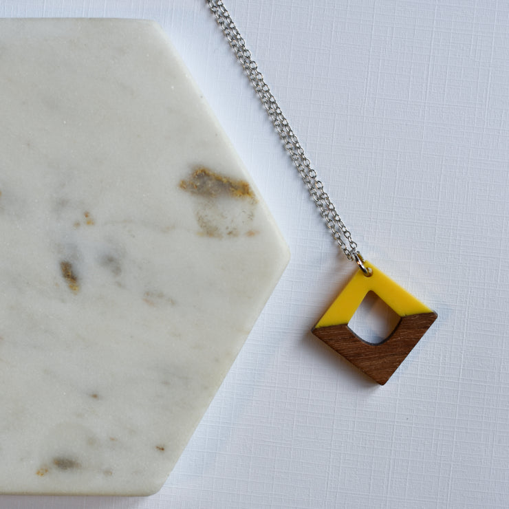 Yellow Resin & Wood Diamond