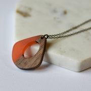 Orange Resin & Wood Teardrop