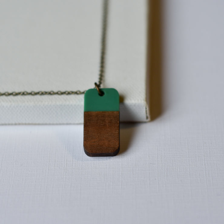 Green Resin & Wood Rectangle