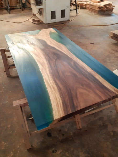 angel resin river table