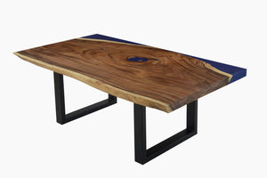 Live Edge Blue Resin Resin Table
