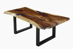 Live Edge Blue Epoxy Resin Table