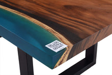 Load image into Gallery viewer, Live Edge Turquoise Epoxy Resin Table