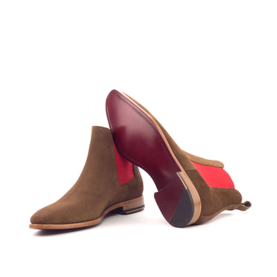 John Waymire suede Chelsea boot with red bottom
