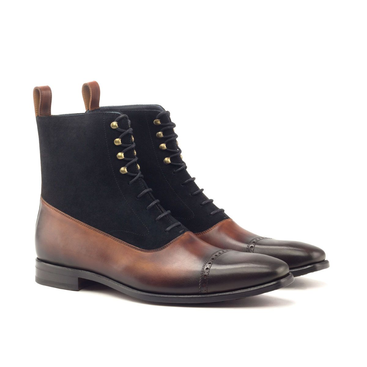 Decartes black suede and calf leather Balmoral boot