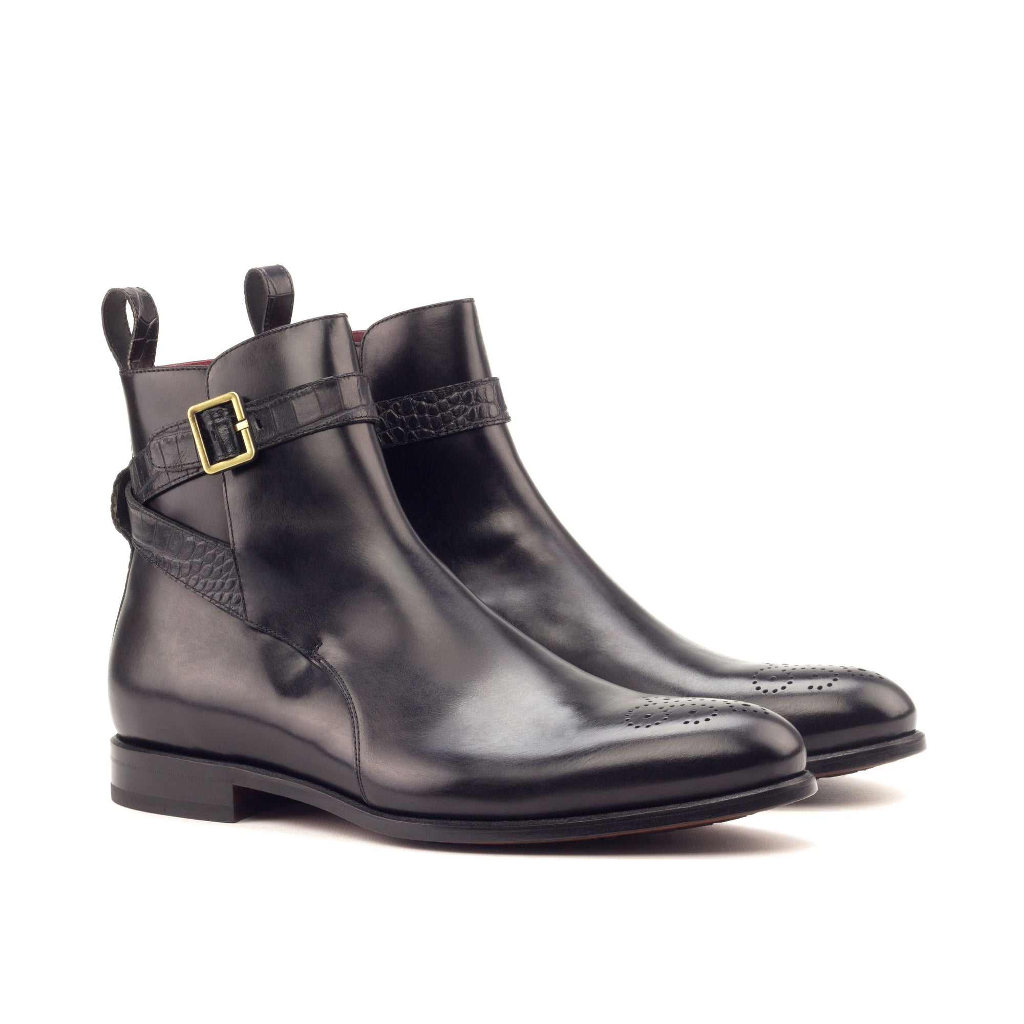 Dumas croco black calf leather Jodhpur boot