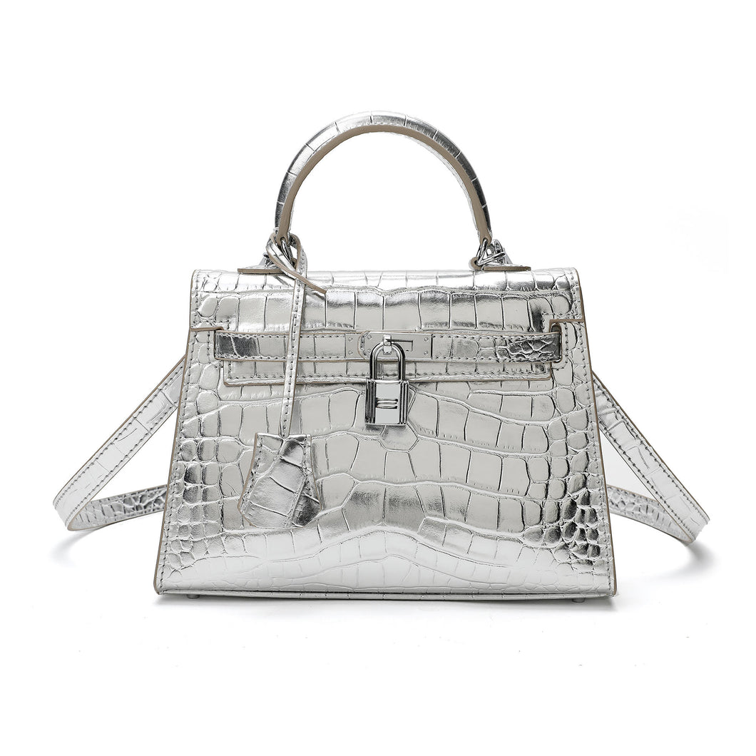 Alligator Embossed Mini Satchel/ Crossbody Bag