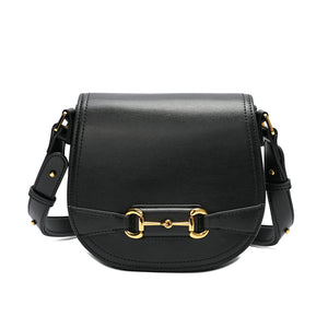 Full-Grain Flap-over Smooth Nappa Leather Shoulder Bag