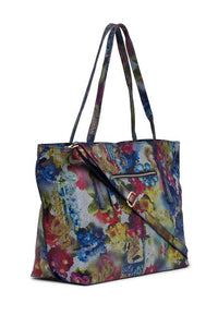 Vintage Floral Print Leather Tote