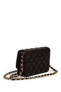 Quilted & Studded Leather Shoulder Bag - Black