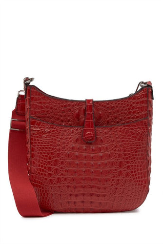 Alligator Embossed Leather Shoulder Bag