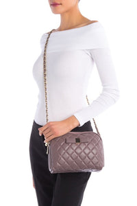 Bow Accent Quilted Leather Shoulder Bag