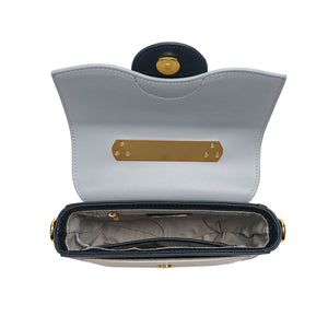 Full-grain Smooth Leather Trio-colored Shoulder/ Shoulder Bag