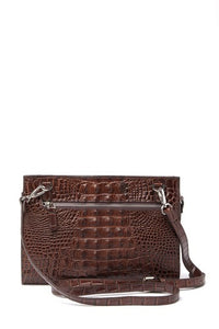 Alligator Embossed Leather Clutch