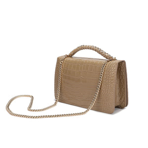 Alligator Embossed Leather Flap Shoulder/ Clutch Bag