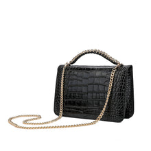 Load image into Gallery viewer, Alligator Embossed Leather Flap Shoulder/ Clutch Bag
