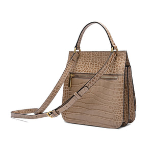 Alligator Embossed Leather Flap-over Shoulder/ Messenger Bag