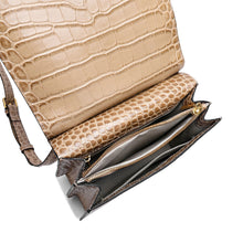 Load image into Gallery viewer, Alligator Embossed Leather Flap-over Shoulder/ Messenger Bag