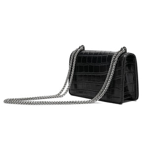 Alligator Embossed Leather Shoulder/ Crossbody Bag