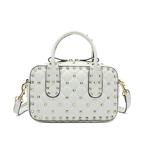 Double-handle Studded And Quilted Lambskin Shoulder Bag