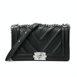 Full-grain Quilted Lambskin Flap Shoulder Bag