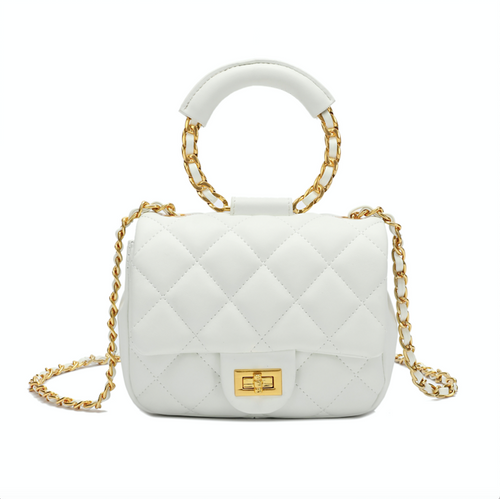 Circular-shaped Top-handle Quilted Lambskin Shoulder Bag