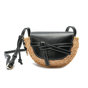Full-grain Smooth Leather/ Straw Crossbody Bag With Bow Accent