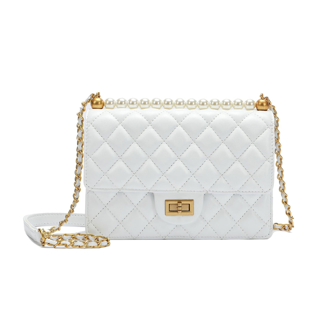 Full-grain Lambskin Leather Shoulder Bag Embellished With Faux Pearls