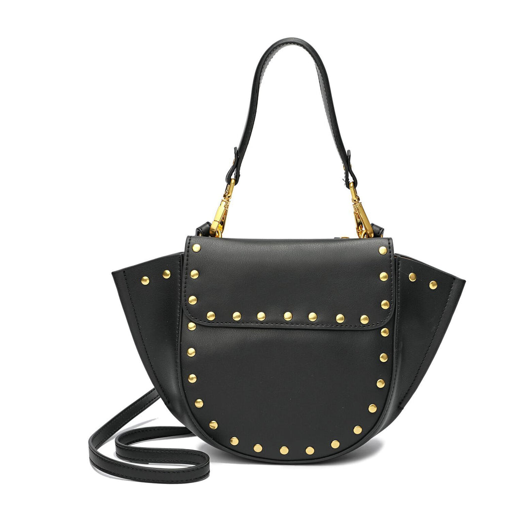 Full-grain Smooth Leather Studded Flap Shoulder/ Crossbody/ Messenger Bag